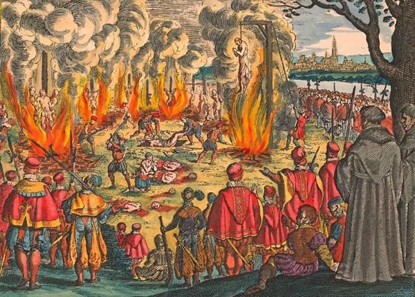 Persécution des protestants durant le règne de François Ier, en 1534, gravure sur cuivre de Matthäus Merian l'Ancien, 1630.