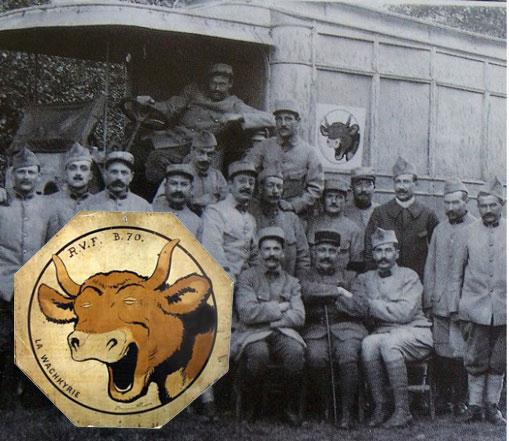 La Wachkyrie, dessin de Benjamin Rabier sur les camions de ravitaillement en viande de la Grande Guerre.