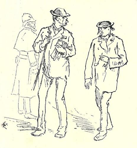Félix Regamey, Verlaine et Rimbaud à Londres, 1872, Paris, Bibliothèque littéraire Jacques Doucet. L'agrandissement montre Verlaine et Rimbaud à Bruxelles en 1873.