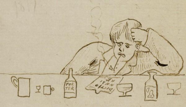 Paul Verlaine, «Ultima verba», dessin d'une lettre à Ernest Delahaye, 1875, Paris, BnF. En agrandissement, Ernest Delahaye, «La Tronche à machin», dessin paru dans une lettre à Paul Verlaine, 1875, Paris, Bibliothèque littéraire Jacques Doucet.