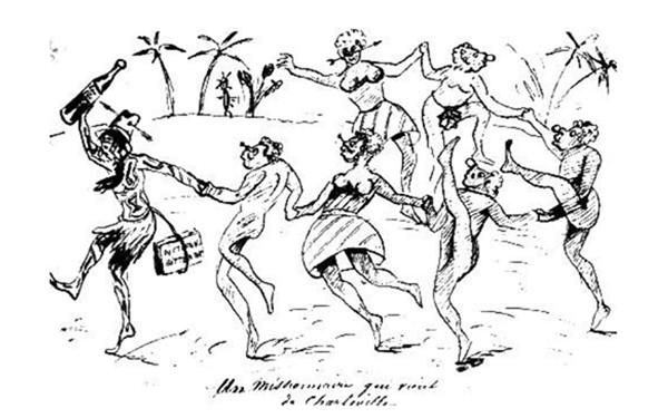 Ernest Delahaye, «Rimbaud missionnaire», dessin paru dans une lettre à Paul Verlaine, 1876, Paris, Bibliothèque littéraire Jacques Doucet.