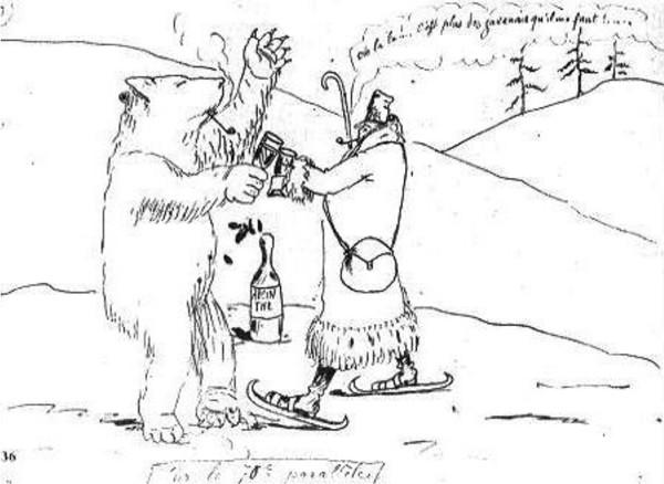 Ernest Delahaye, «Rimbaud sur le 70e parallèle», dessin paru dans une lettre à Paul Verlaine, 1877, Paris, Bibliothèque littéraire Jacques Doucet.