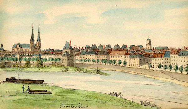 Vue et lycée de Charleville, Albert Capaul, 1886-1888, Charleville-Mézières, Archives départementales.
