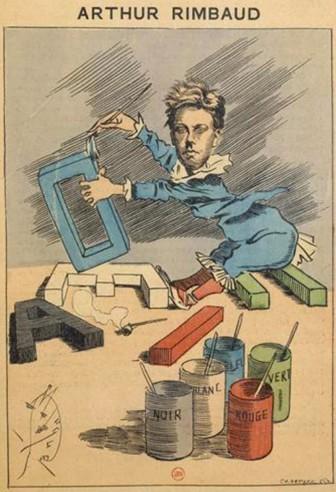 Luque, «Voyelles», caricature d'Arthur Rimbaud parue dans la Revue Les Hommes d'aujourd'hui n°318, janvier 1888, Paris, BnF