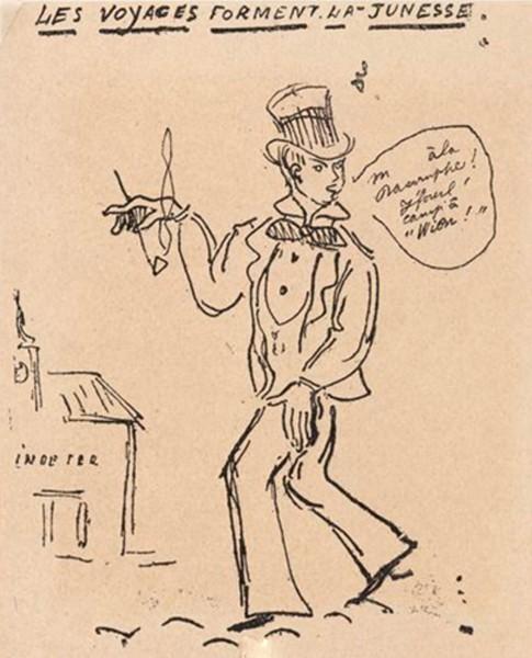 Paul Verlaine, «Les Voyages forment la jeunesse» (Rimbaud en voyage) et «La Musique adoucit les moeurs» (Rimbaud au piano), dessins parus dans La Revue blanche, 1897, Paris, BnF.