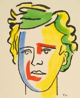 Fernand Léger, Portrait d'Arthur Rimbaud, lithographie pour Les Illuminations, 1949. En agrandissement, le portrait d'Arthur Rimbaud réalisé par Picasso en 1960.