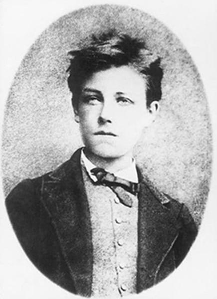 Photographie de Rimbaud âgé de 17 ans par Étienne Carjat, 1871 ; agrandissement : autre photo de Rimbaud attribuée à Cajart vers 1870 ou 1871 (musée Rimbaud à Charleville)