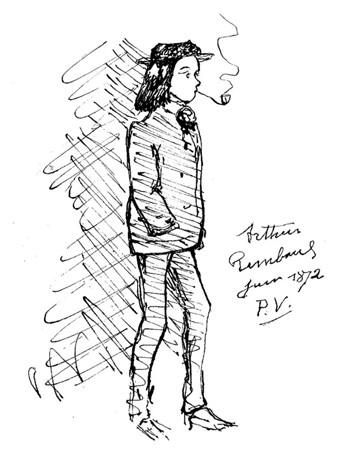 Portrait de Rimbaud par Paul Verlaine, 1872 ; agrandissement : portrait de Verlaine par Frédéric Bazille en 1867.