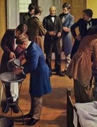 Après ses premières constatations, Ignace Semmelweis demande à tous ses étudiants de se laver les mains avant de pratiquer un accouchement, DR.