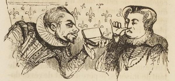 Catherine de Médicis et Jean Nicot, illustration du livre de Théodose Burette, La Physionomie du fumeur, 1841, Paris, BnF.