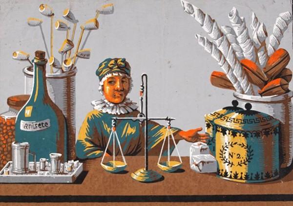 Lithographies représentant un débit de tabac. La première s'intitule Débit de tabac, eau de vie de Coignac, vers 1815, Marseille, MuCEM, Musée des Civilisations de l'Europe et de la Méditerranée.  L'agrandissement présente une image d'd'Épinal, XIXe siècle, Marseille, MuCEM.