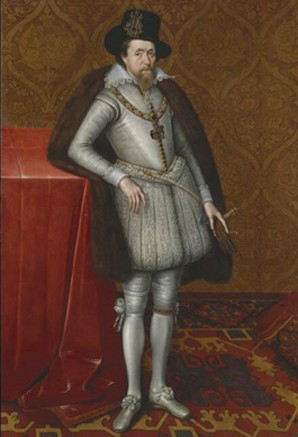 Portrait de Jacques Ier d'Angleterre, attribué à John de Critz, vers 1606, Londres, Dulwich Picture Gallery. L'agrandissement est un autoportrait de Joos van Craesbeeck, Le Fumeur, 1660, Paris, musée du Louvre.
