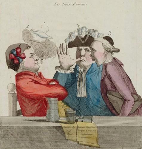 Les Trois fumeurs, 1789, Paris, BnF.