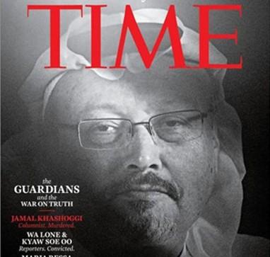 Le Time Magazine désigne Jamal Khashoggi personnalité de l'année au mois de décembre 2018.