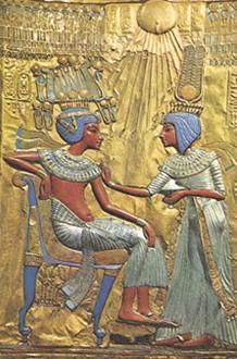 Toutânkhamon et son épouse Ânkhesenamon, trône de Toutânkhamon, Musée du Caire.