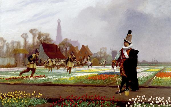 Jean-Léon Gérôme, Duel à la tulipe, 1882, Baltimore, Walters Art Museum. Agrandissement : Vincent van Gogh, Champ de tulipes, 1883, La Hague, National Gallery of Art.