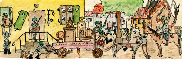 Sans titre avec inscription : Deutsches Plunderung Wagen (Wagon de pillage allemand), 1943, Strasbourg, Tomi Ungerer, musée Tomi Ungerer - Centre international de l'Illustration.