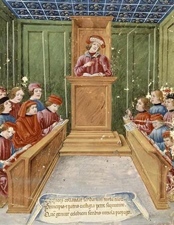 Leçon de droit à l'université, enluminure du XVe s., Bologne, Museo cívico medievale.