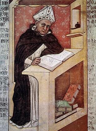 Albertus Magnus, 1352, Tomaso da Modena, Trévise, église San Nicolò. En agrandissement,  Saint Thomas d'Aquin (détail vitrail), église Saint-Patrick, Columbus, Ohio.