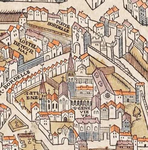 Porte Bordelle et abbaye Sainte-Geneviève sur le Plan de Truschet et Hoyau, 1550. En agrandissement, l'université à la fin du XVe siècle, Atlas historique de la Ville de Paris.