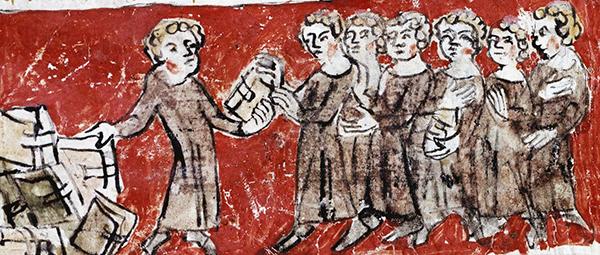 Scènes de vie des étudiants au collège de Hubant ou de l'Ave Maria (Paris), 1387, Archives nationales. Les étudiants doivent se répartir les livres de la bibliothèque.