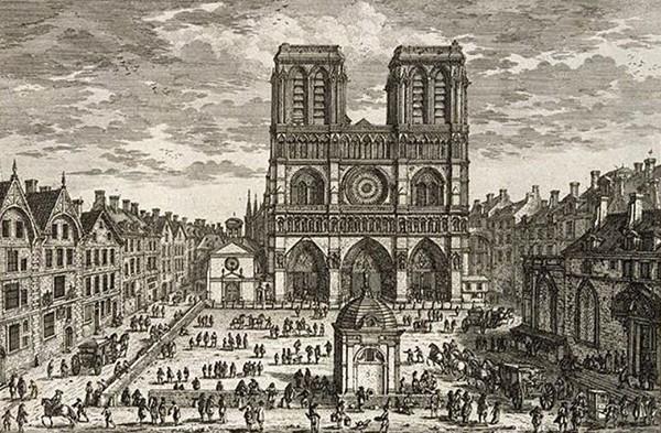 « Vue de la principalle entrée de l'Eglise de Nostre Dame de Paris, Bastie sous le Regne de Philippes Auguste environ l'an 1200. Tout cet édifice eft fondé sur Pilotis et creux par-dessous en plusieurs endroits, la hauteur des Tours ou Clochers eft de 65 Toises. Ce lieu est estimé le plus bas de Paris ».