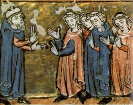 Cours de théologie, Sorbonne, enluminure XIIIe s.