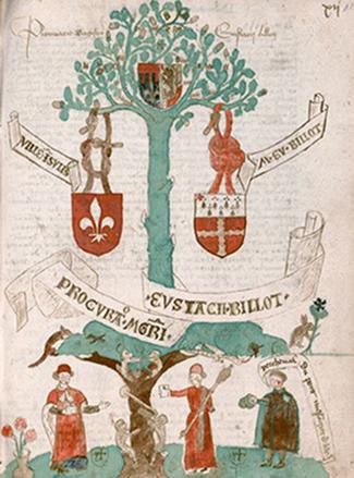 Registre des conclusions de la nation de Picardie, 1476-1483, Paris, bibliothèque interuniversitaire de la Sorbonne, DR. En agrandissement, les blasons des nations à l'université de Bologne (Italie).