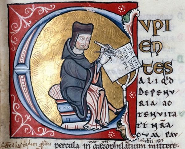Petrus Lombardus (Pierre Lombard), enseigna la théologie à Notre-Dame, Troyes - BM - ms, 1158. En agrandissement, un exemplaire des Sententiæ (Quatre livres de sentences de Pierre Lombard) utilisé dans les universités médiévales comme manuel théologique de base, à partir des années 1220 jusqu'au XVIe siècle, Florence, Biblioteca Medicea Laurenziana.