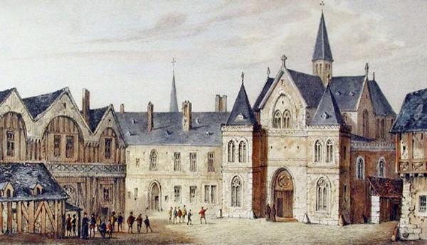 Vue du collège de la Sorbonne en 1550, Rouen, musée national de l'Éducation. En agrandissement, vue et perspective de l'église de la Sorbonne par Adam Perelle en 1670.