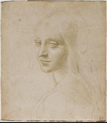 Léonard de Vinci, Étude de figure pour l'ange de la Vierge aux rochers(1483-1485, Biblioteca Reale di Torino)