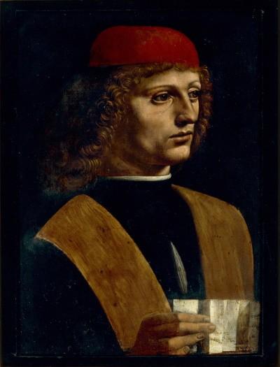 Léonard de Vinci, Portrait de jeune homme tenant une partition (1485, huile sur bois, 32cm x 45 cm,Biblioteca Ambrosiana, Milan)