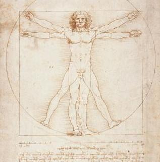 Léonard de Vinci, L'Homme de Vitruve (1490, Gallerie dell'Accademia, Venise)