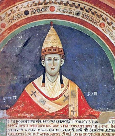 Innocent III, fresque du cloître bénédictin de Subiaco, XIIIe siècle.