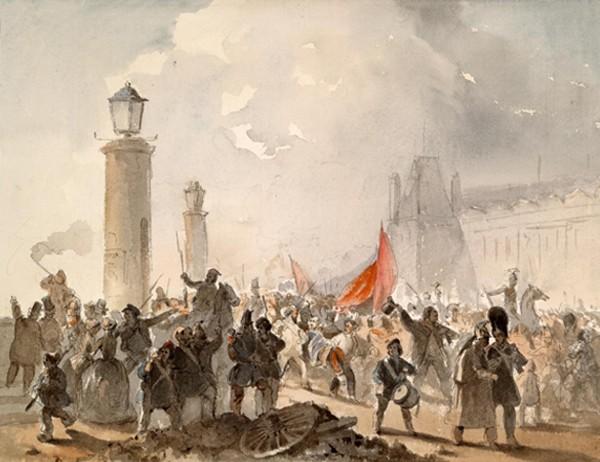 La Révolution française de 1848, aquarelle de Cesare Dell'Acqua, XIXe siècle.