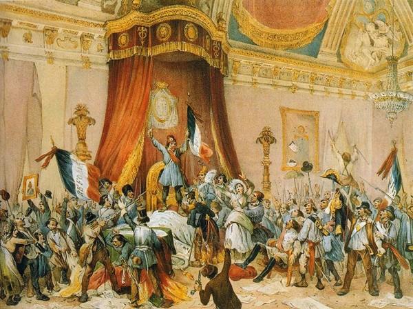 Pillages de la salle du trône aux Tuileries, lithographie de Victor Adam et Jean-Baptiste Arnout, 1848.