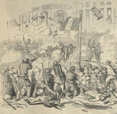 Journées illustrées de la Révolution de 1848, gravure, Paris, ITEM, Bibliothèque Flaubert. L'image est accompagnée de ce commentaire : « Les deux journalistes se présentent à la barricade de la rue Saint-Honoré.  La nouvelle de l'abdication est accueillie avec des transports de joie, tempérée par l'incrédulité. »