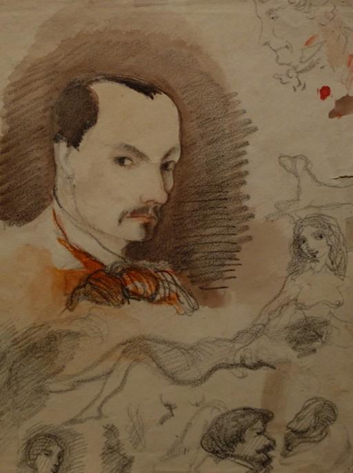 Autoportrait de Charles Baudelaire, 1848, aquarelle et graphite, musée des monuments français, cité de l'architecture et du patrimoine.