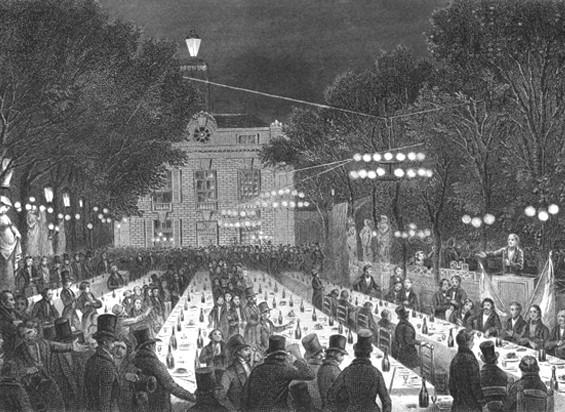 La campagne des banquets, 9 juillet 1847. Le banquet du Château-Rouge ouvre la campagne des banquets, Élias Regnault, Révolution française t. III, Paris, Pagnerre, 1860.