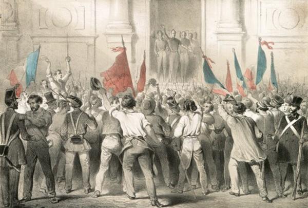 Lamartine à l'Hôtel de Ville, Paris, Ed. Aubert, 1848, Lithographie, BnF, Paris. Lamartine proclame la République devant l'Hôtel de Ville et prononce un discours vibrant pour maintenir l'usage du drapeau tricolore.