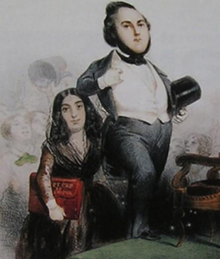 Caricature de 1848 : Ledru-Rollin accède au gouvernement mais c'est George Sand derrière lui qui tient le porte-feuille, symbole de ses fonctions.