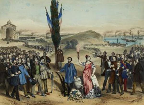 Le suffrage universel / Dédié à Ledru-Rollin, estampe, Marie-Cécile Goldsmid, 1850, Paris, musée Carnavalet.