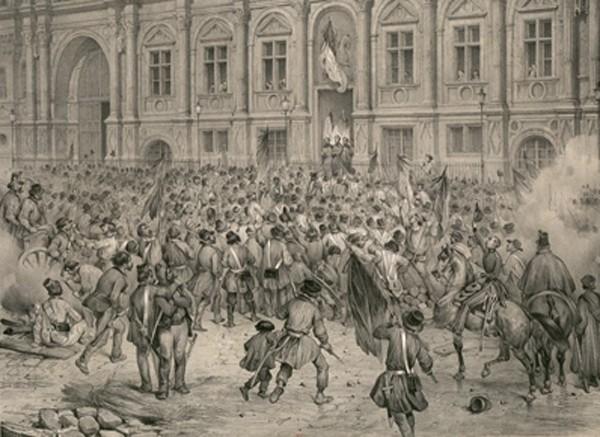 Lamartine harangue le peuple, 1848, lithographie de Victor Adam extraite de : Un siècle d'histoire de France par l'estampe, 1770-1870, BnF, Paris.