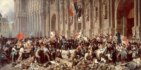 Lamartine devant l'Hôtel de Ville de Paris le 25 février 1848 refuse le drapeau rouge, Henri Félix Emmanuel Philippoteaux, Paris, musée Carnavalet.