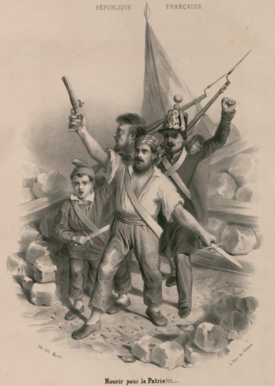Mourir pour la Patrie !!! (Choeur des Girondins), Révolution de février 1848, estampe, Gallica, Bnf, Paris.