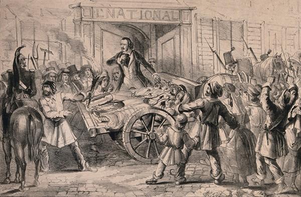 Une charrette chargée de blessés passe devant le journal National, lithographie, anonyme, 1848.