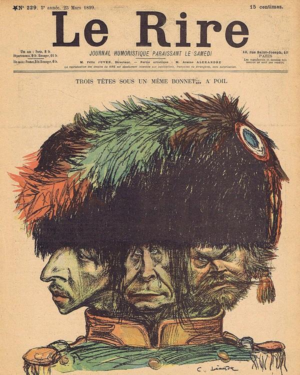 Trois têtes sous un même bonnet...à poil, couverture du journal Le Rire, n° 229, 25 mars 1899. Caricature par Charles Léandre de Maurice Barrès (à gauche) François Coppée et Jules Lemaître, membres de la Ligue de la patrie française.