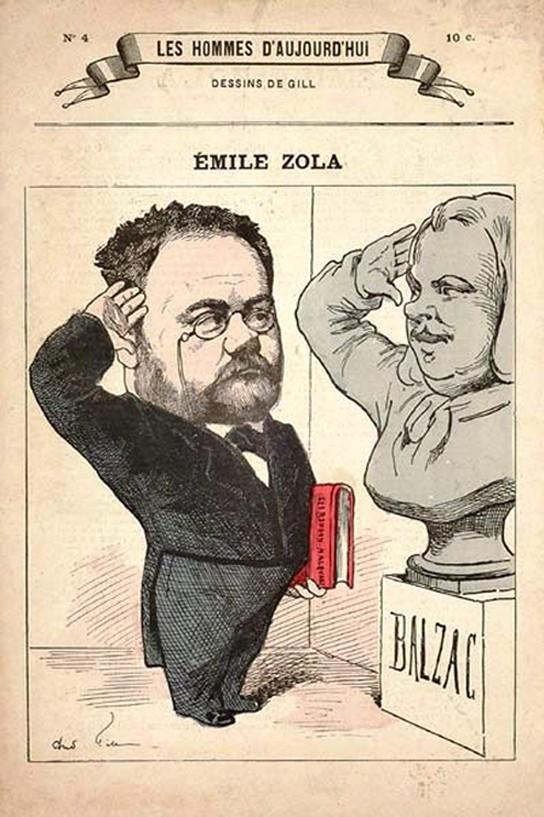 Émile Zola, les Rougon-Macquart sous le bras, rend hommage à son modèle Balzac et celui-ci répond au salut de son digne héritier, André Gill, Les Hommes d'aujourd'hui n°4, septembre 1878.