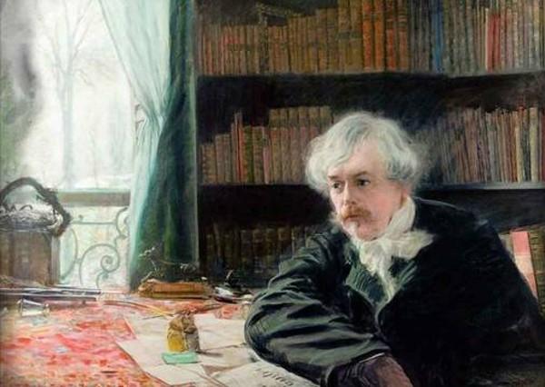 Edmond de Goncourt dans son cabinet de travail d'Auteuil, pastel de Guiseppe De Nittis, 1881.