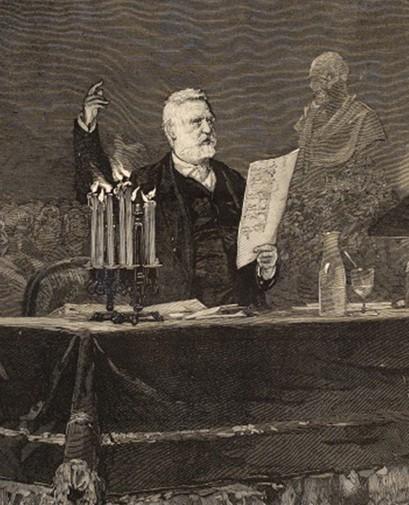 Victor Hugo prononçant son discours à l'occasion du centaire de Voltaire, Théâtre de la Gaîté le 30 mai 1878, Le Monde Illustré, M. Vierge, dessinateur, 8 juin 1878, BnF, Paris.